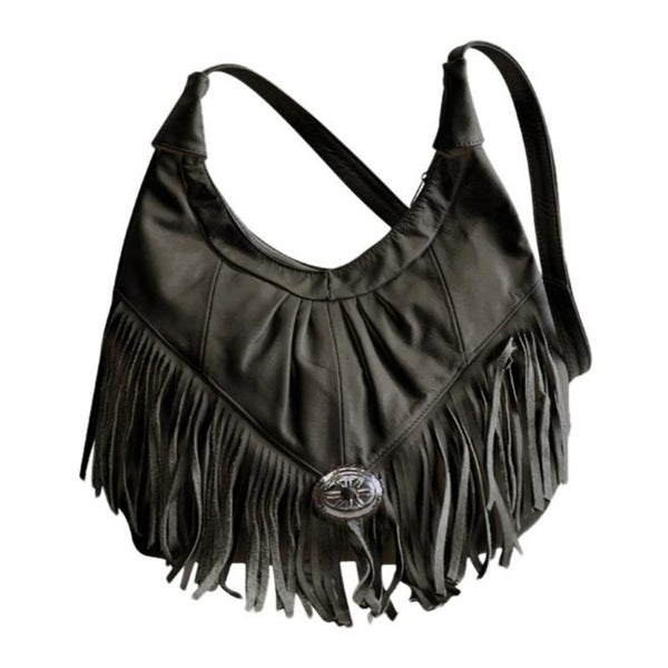 f95eedeb0a6c Shop AFONiE Mexican Leather Fringe Hobo Handbag - On Sale - Free ...