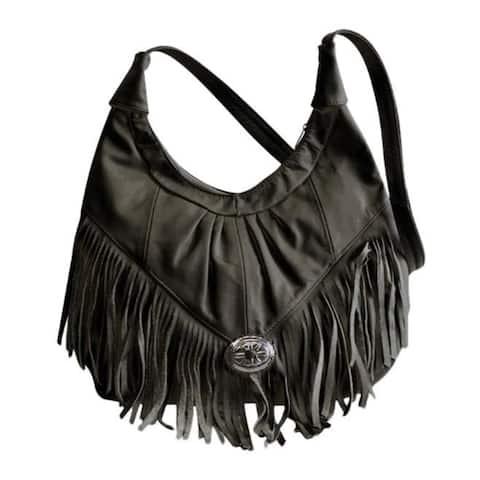 AFONiE Mexican Leather Fringe Hobo Handbag