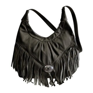 AFONiE Mexican Leather Fringe Hobo Handbag