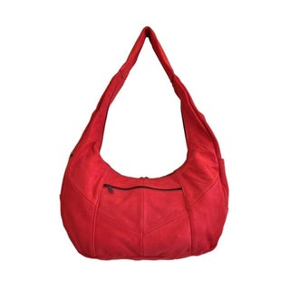 AFONiE Soft Leather Hobo (Option: Red)