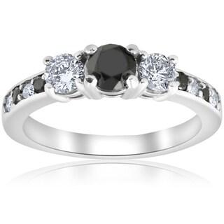 Bliss 10k White Gold 1 1/4 ct TDW Three Stone Black & White Diamond Engagement Ring