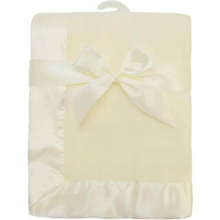 American Baby Company Fleece Blanket With Satin Trim - 2 Inches - Ecru - 2 Pack