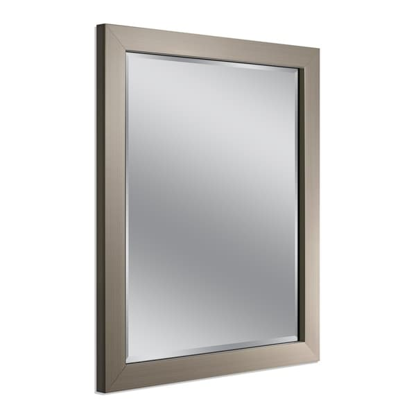 Headwest Modern Brush Nickel Wall Mirror