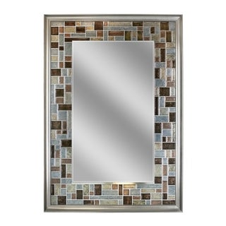 Headwest Windsor Tile Grey/Brown/Sage Glass Rectangle Wall Mirror