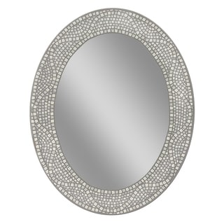 "Headwest Opal Mosaic Oval Wall Mirror - Grey - 29""l x 23""w x 1""d"