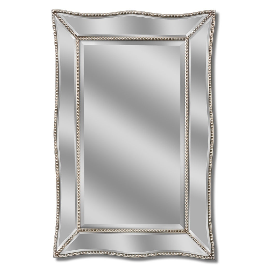Headwest Scallopped Metro Beaded Wall Mirror - Champagne/Silver - 24 X 36