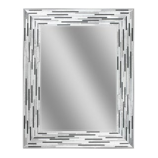Headwest Reeded Charcoal Tiles Rectangle Wall Mirror - Black/Grey - 24 X 30