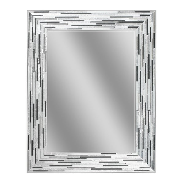 Shop Headwest Reeded Charcoal Tiles Rectangle Wall Mirror Black