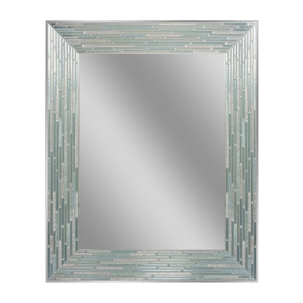 Headwest Reeded Sea Gl Rectangle Wall Mirror Blue Green 24 X 30