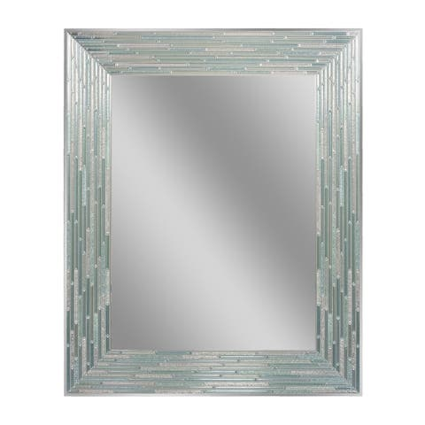 Headwest Reeded Sea Glass Rectangle Wall Mirror - 24 X 30