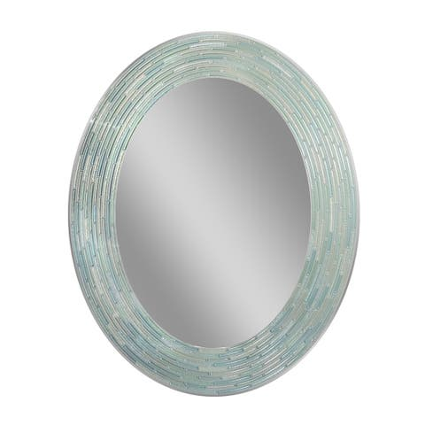 Headwest Reeded Sea Glass Oval Wall Mirror - Blue/Green - 23 X 29