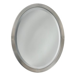 Headwest Brush Nickel Oval Wall Mirror - Brushed Nickel - 23 X 29
