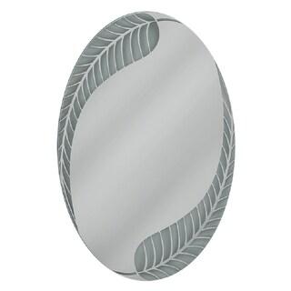Headwest Palm Leaf Oval Wall Mirror - Off-White - 24 X 36