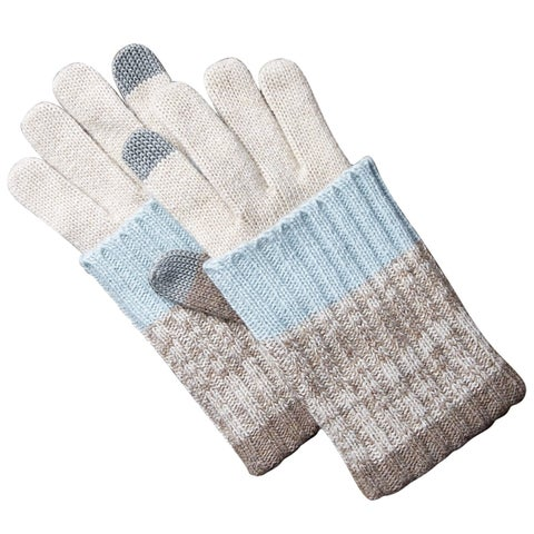 Striped Knit Texting Gloves