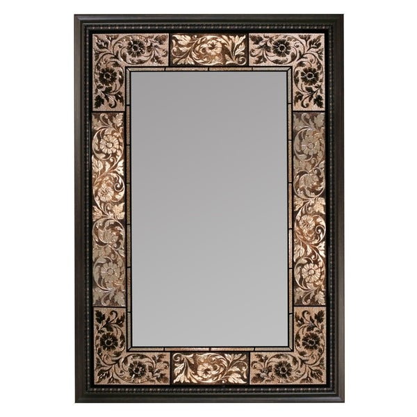 Headwest French Tile Rectangle Wall Mirror - Brown - 25.5 x 37
