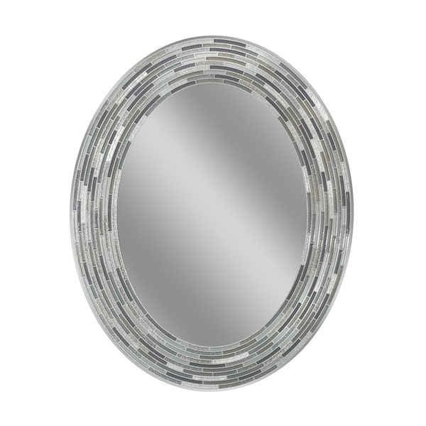 Headwest Reeded Charcoal Tiles Oval Wall Mirror - Black/Grey - 23 X 29