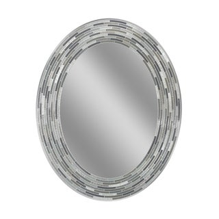 Headwest Reeded Charcoal Tiles Oval Wall Mirror