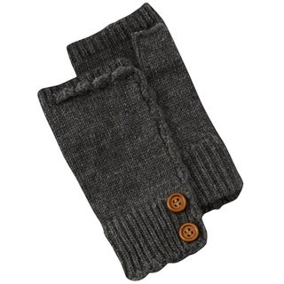 Fingerless Knit Gloves With Buttons