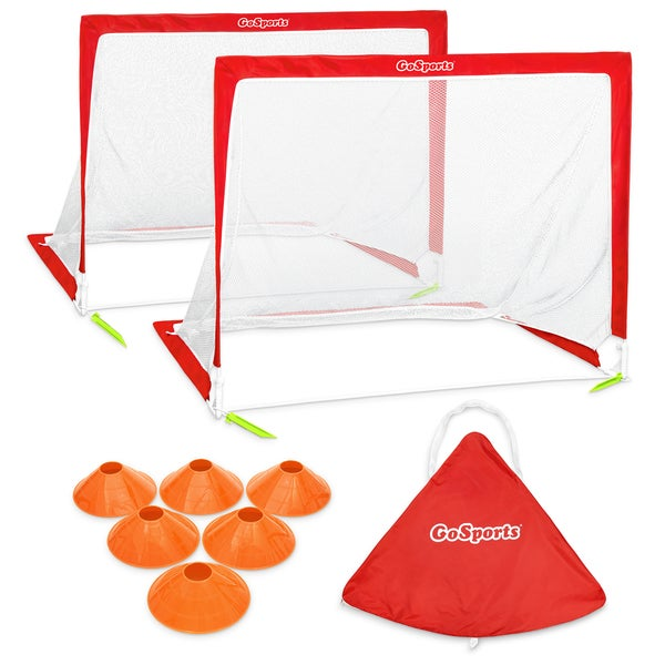 GoSports Portable Pop Up Soccer Goal (Set Of 2), Red/White