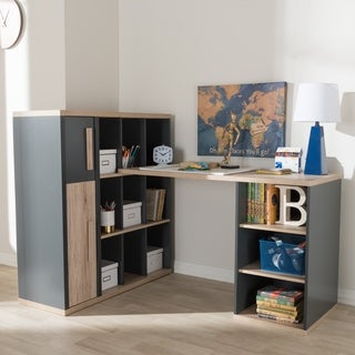 Contemporary Dark Grey and Light Brown Study Desk by Baxton Studio