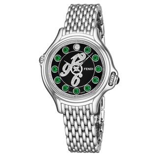 Fendi Women's F105021000D3T03 'CrazyCarats' Black Diamond Dial Stainless Steel Swiss Quartz Watch