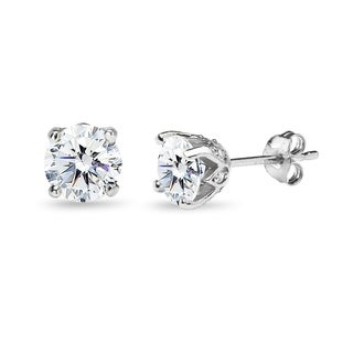 ICZ Stonez Sterling Silver 6mm Crown Stud Earrings Created with Swarovski Zirconia