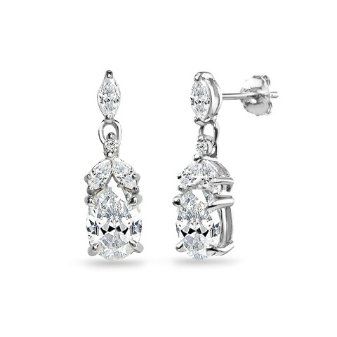 ICZ Stonez Sterling Silver Oval Dangle Earrings Created with Swarovski Zirconia