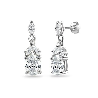 ICZ Stonez Sterling Silver Oval Dangle Earrings Created with Swarovski Zirconia