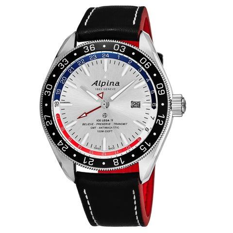 Alpina Men's AL-550SRN5AQ6 'Alpiner 4 GMT Business' Silver Dial Black Leather Strap Swiss Automatic Watch