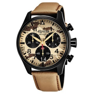 Alpina Men's AL-372MLY4FBS6 'Smart Timer Pilot' Camouflage Dial Beige Fabric Leather Strap Chronograph Swiss Quartz Watch
