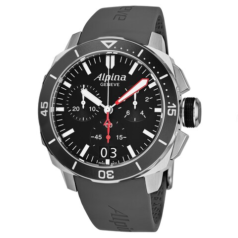 Alpina Men's AL-372LBG4V6 'Seastrong Diver' Black Dial Chronograph Swiss Quartz Watch with Grey Rubber Strap
