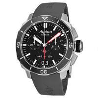 Alpina Men's AL-372LBG4V6 'Seastrong Diver' Black Dial Chronograph Swiss Quartz Watch with Grey Rubber Strap