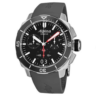 Alpina Men's AL-372LBG4V6 'Seastrong Diver' Black Dial Grey Rubber Strap Chronograph Swiss Automatic Watch