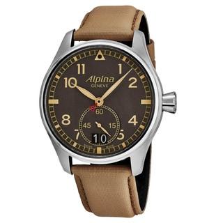 Alpina Men's AL-280BGR4S6 'Smart Timer Pilot' Grey Dial Beige Fabric Strap Swiss Automatic Watch