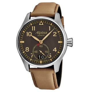 Alpina Men's AL-280BGR4S6 'Smart Timer Pilot' Grey Dial Beige Fabric Strap Swiss Automatic Watch|https://ak1.ostkcdn.com/images/products/18506494/P24619184.jpg?impolicy=medium