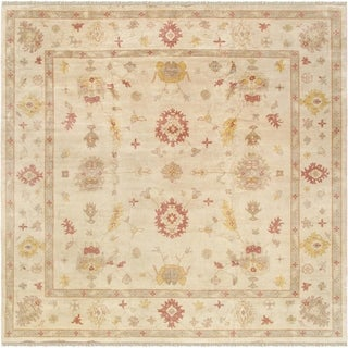 "Oushak Collection Hand-Knotted Ivory Wool Rug (13'10"" X 13'11"")"