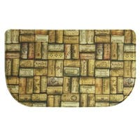 "Printed memory foam Wine Corks kitchen rug by Bacova - Tan/Brown - 1'6"" x 2'6"""