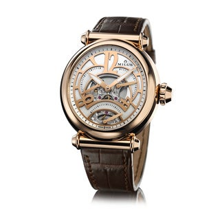 Milus Women's MER401F 'Merea Tri-Retrograde' White Dial Brown Leather Strap Rose Gold Swiss Mechanical Watch