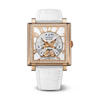 Milus Women's HERT405 'Herios Tri-Retrograde' White Dial White Leather Strap Rose Gold Diamond Swiss Mechanical Watch