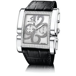 Milus Women's APIC006 'Apiana Chrono' Mother of Pearl Dial Black Leather Strap Diamond Swiss Mechanical Watch