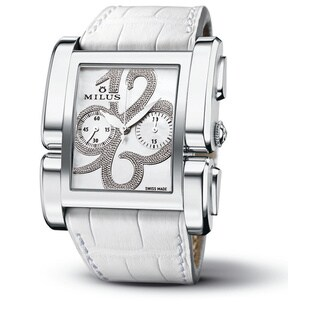 Milus Women's APIC015 'Apiana Chrono' Mother of Pearl Dial White Leather Strap Swiss Mechanical Watch