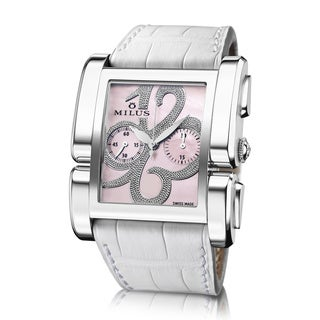 Milus Women's APIC004 'Apiana Chrono' Pink Mother of Pearl Dial White Leather Strap Swiss Mechanical Watch