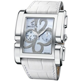 Milus Women's APIC003F 'Apiana Chrono' Grey Mother of Pearl Dial White Leather Strap Swiss Mechanical Watch