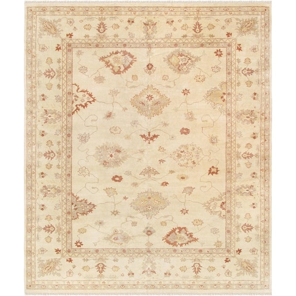 Oushak Ivory Collection Handmade Wool Area Rug 12 X27
