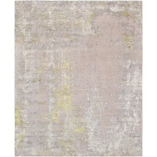 """Modern Beige/Gold Hand-Knotted Silk & Wool Area Rug (8' 0"""" X 10' 0"""")"""
