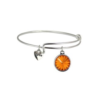 Linel Birthstone Bracelet Silver Expandable Heart Charm (Option: Yellow - November)