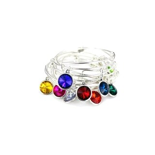 Linel Birthstone Bracelet Silver Expandable Heart Charm