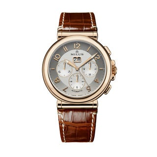Milus Men's ZETC012F 'Zetios' Silver Dial Brown Leather Strap Rose Gold Chronograph Swiss Mechanical Watch