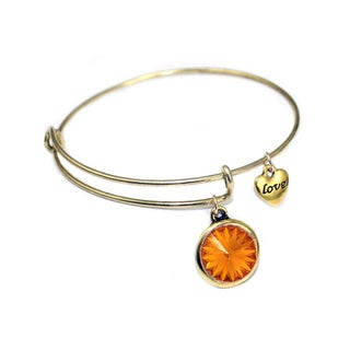 Linel Birthstone Bracelet Gold Expandable Heart Charm Bracelet (More options available)