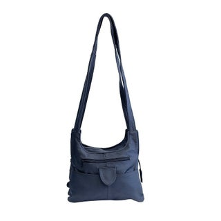 AFONiE Multi Pocket Soft Mexican Leather Hobo Handbag (Option: Navy)